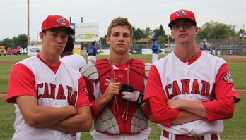 Posing with teammates at the World Junior championships.